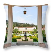 The Getty Villa Main Courtyard View From Covered Walkway. Throw Pillow