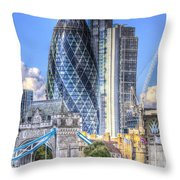 The Gherkin And Tower Bridge Throw Pillow