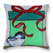 The Gift - Christmas Chickadee Whimsical Painting By Ella Throw Pillow