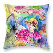The Girl And The Lizard Throw Pillow