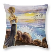 The Girl And The Ocean Throw Pillow