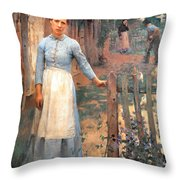 The Girl At The Gate Throw Pillow