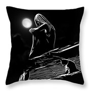 The Girl On The Roof Throw Pillow
