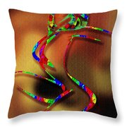 The Girl With Kaleidoscope Lines Throw Pillow