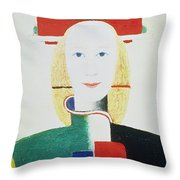The Girl With The Hat Throw Pillow