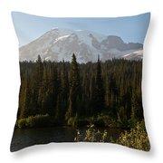 The Glow Of Mount Rainier Throw Pillow