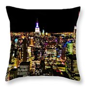 The Glow Of The New York City Skyline Throw Pillow