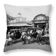The Goat Carriages Coney Island 1900 Throw Pillow