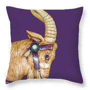 The Goat Who Likes Purple Throw Pillow