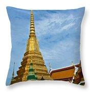 The Golden Chedis At Grand Palace Of Thailand In Bangkok Throw Pillow