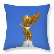 The Golden Niyazov Statue On Top Of The Arch Of Neutrality In Ashgabat Turkmenistan Throw Pillow