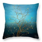 The Golden Tree Throw Pillow by Bedros Awak