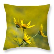 The Golden Wildflowers Throw Pillow