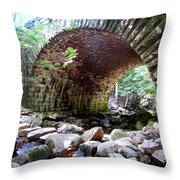 The Gorge Trail Stone Bridge Throw Pillow