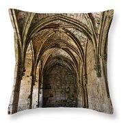 The Gothic Cloisters Inside The Crusader Castle Of Krak Des Chevaliers Syria Throw Pillow