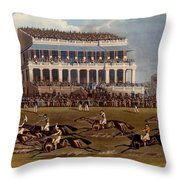 The Grand Stand At Epsom Races, Print Throw Pillow