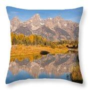 The Grand Tetons At Schwabacher Landing Grand Teton National Park Throw Pillow