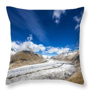 The Great Aletsch Glacier And Deep Blue Sky Throw Pillow