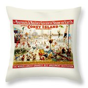 The Great Coney Island Water Carnival Throw Pillow by Georgia Fowler