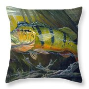 The Great Peacock Bass Throw Pillow by Terry  Fox