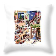 The Great Santa Shoot-out At The Mall Throw Pillow