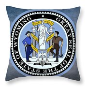 The Great Seal Of The State Of Wyoming Throw Pillow