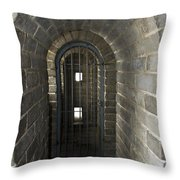The Great Wall Of China At Badaling - 10 - Inside The Guardhouse  Throw Pillow