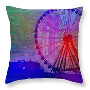 The Great  Wheel Cubed Throw Pillow