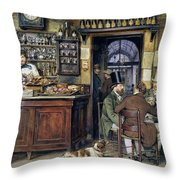The Greek Cafe In Rome Throw Pillow