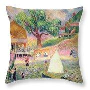 The Green Beach Cottage Throw Pillow