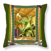 The Green Knight Christmas Card Throw Pillow