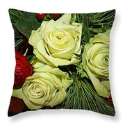 The Green Roses Of Winter Throw Pillow