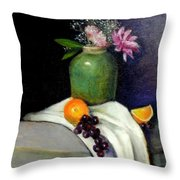 The Green Vase Throw Pillow by Lenore Gaudet
