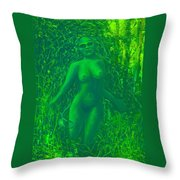 The Green Wood Nymph Calls Throw Pillow