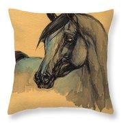 The Grey Arabian Horse 1 Throw Pillow