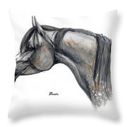 The Grey Arabian Horse 11 Throw Pillow