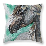 The Grey Arabian Horse 13 Throw Pillow