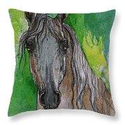The Grey Arabian Horse 17 Throw Pillow
