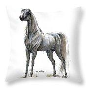 the Grey arabian horse 7 Throw Pillow
