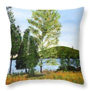 The Grey Camp Beech Hill Pond Throw Pillow