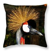 The Grey Crowned Crane Throw Pillow