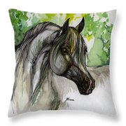 The Grey Horse Drawing Throw Pillow