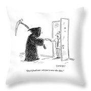 The Grim Reaper Is Seen Giving A Piece Of Paper Throw Pillow by David Sipress