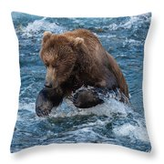 The Grizzly Plunge Throw Pillow