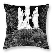 The Grotto - Calvary Scene - Pink Flower Throw Pillow