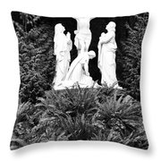 The Grotto - Calvary Scene With Border Throw Pillow