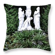 The Grotto In Portland - Calvary Scene  Throw Pillow
