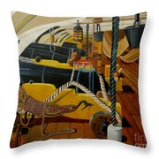 The Guns Of Hms Victory Throw Pillow