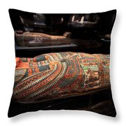 The Hall Of Ancient Egypt Mummy Room Throw Pillow