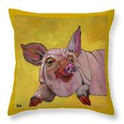 The Happiest Pig In The World Throw Pillow